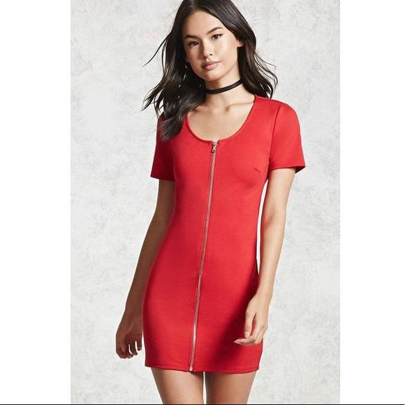 Forever 21 Dresses & Skirts - Forever 21 • Bodycon Zipper-Front Dress • MEDIUM